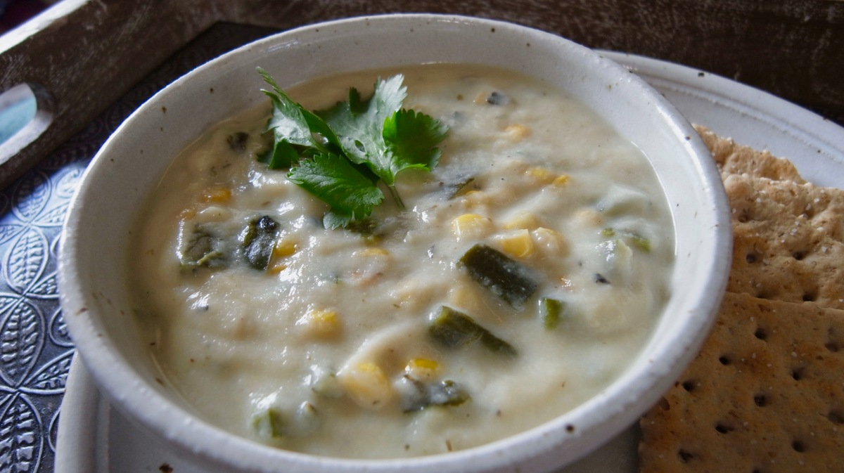 "Roasted Poblano and Cauliflower ""Cream"" Soup 